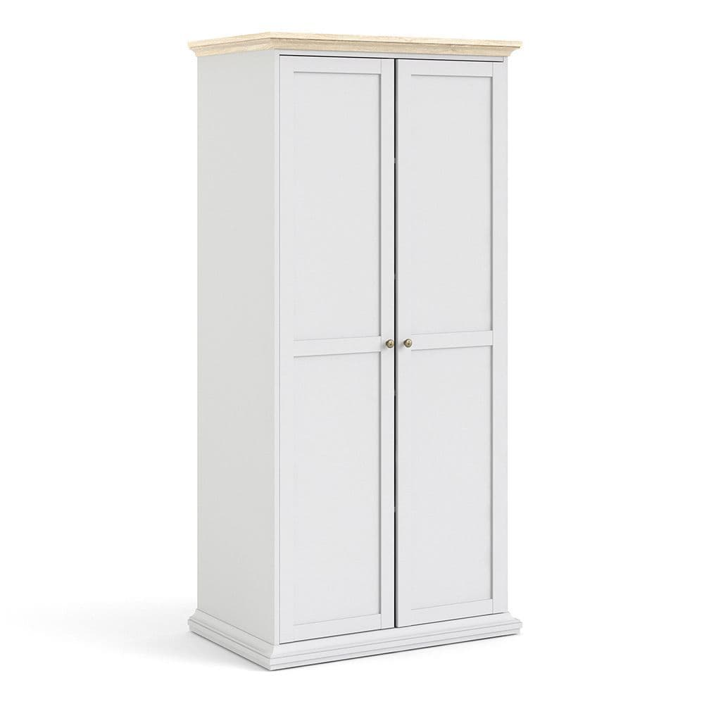 Parisian Chic Parisian Chic Wardrobe with 2 Doors in White and Oak